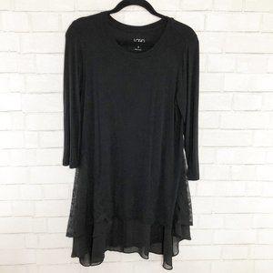 LOGO Lori Goldstein Black Tunic Lace Trim Small